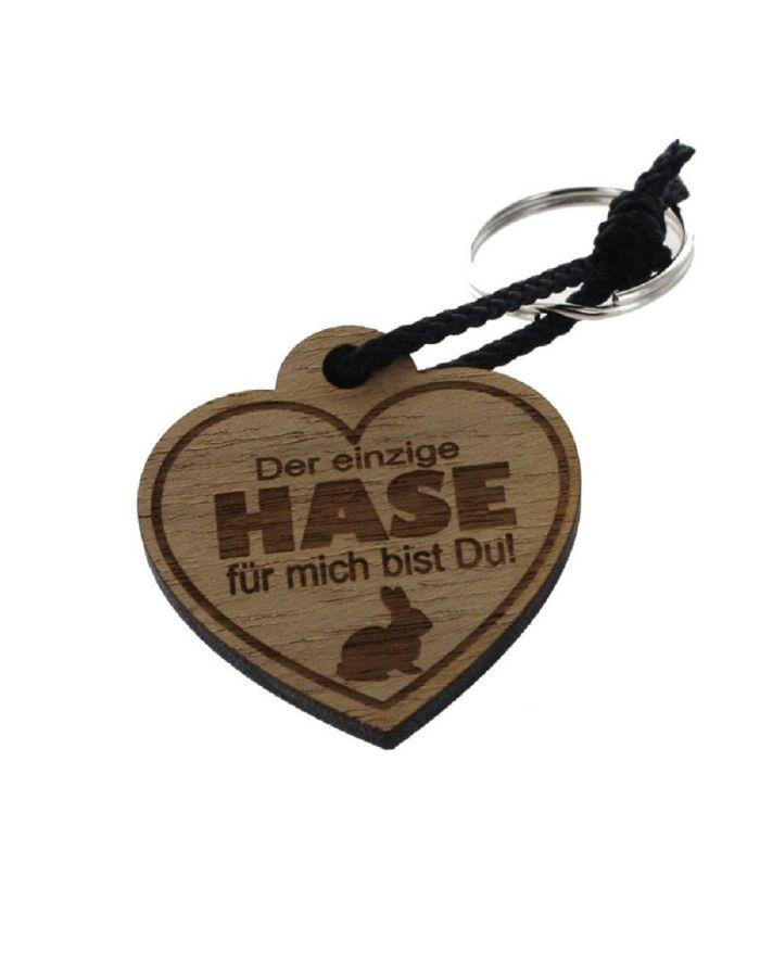 """Schlüsselanhänger aus Holz """"Der Einige Hase für mich bist Du!"""" (Herz)"""
