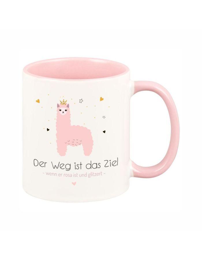 """Tasse """"Der Weg ist das Ziel - wenn er rosa ist und glitzert """""""
