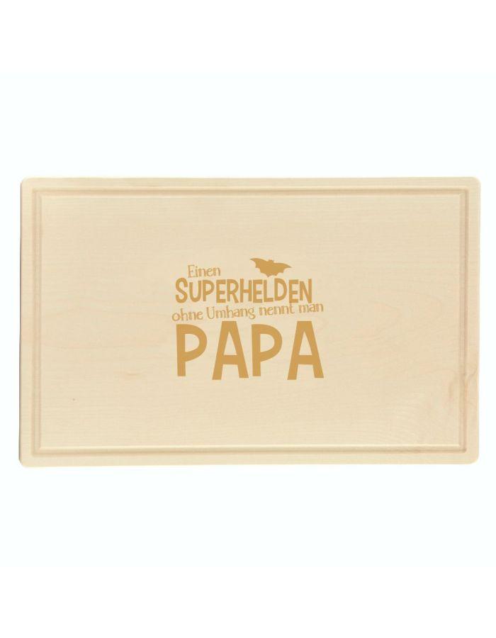 """Schneidebrett """"Einen Superhelden ohne Umhang nennt man Papa"""" (rechteckig)"""