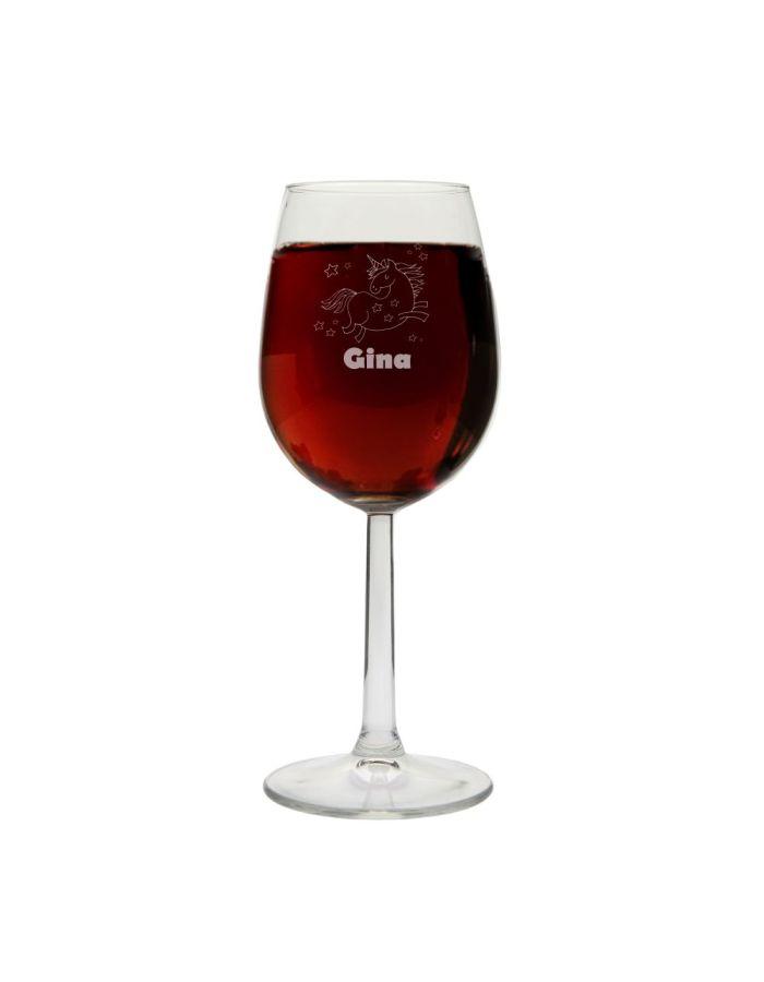 """Weinglas """"Einhorn"""" mit Namen"""