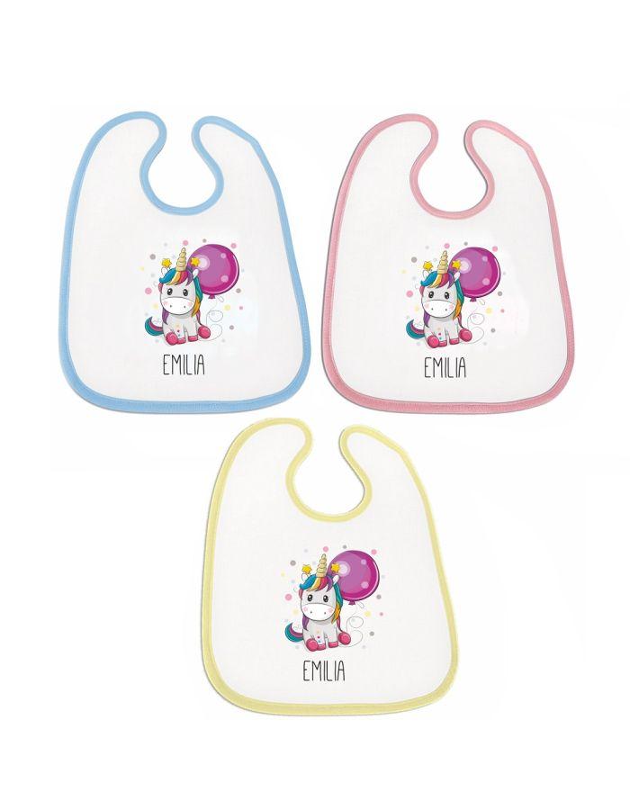 """Lätzchen """"Einhorn"""" - personalisiert (Farbe: rosa, blau oder gelb)"""