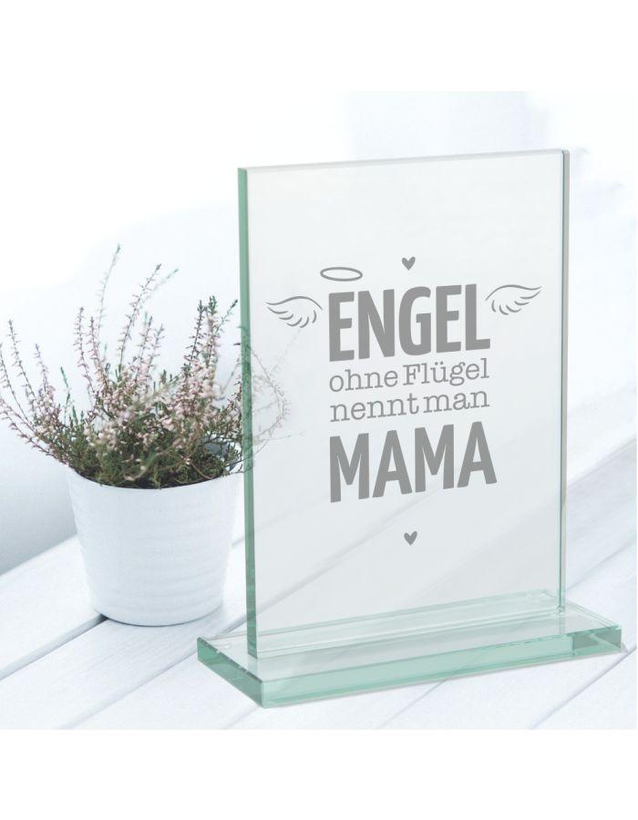 """Glaspokal """"Engel ohne Flügel nennt man Mama"""""""