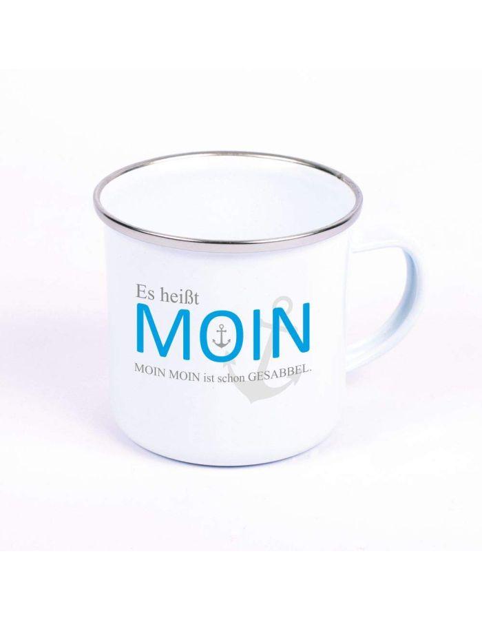 """Metalltasse Emaille Look """"Es heißt Moin. Moin Moin ist schon Gesabbel"""" (grauer Anker)"""