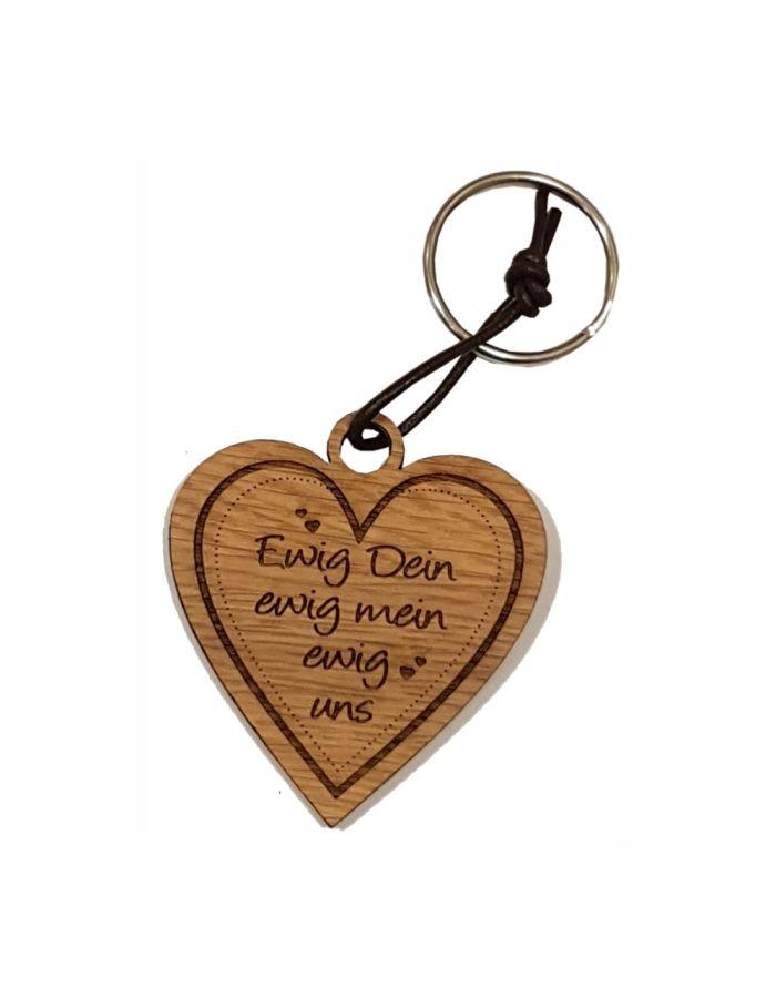 """Schlüsselanhänger aus Holz """"Ewig uns"""" (Herz)"""