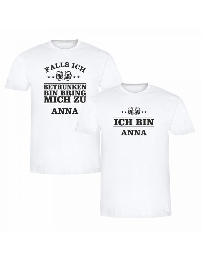 """T-Shirt SET """"Falls ich betrunken bin…"""" (Bierflaschen)"""