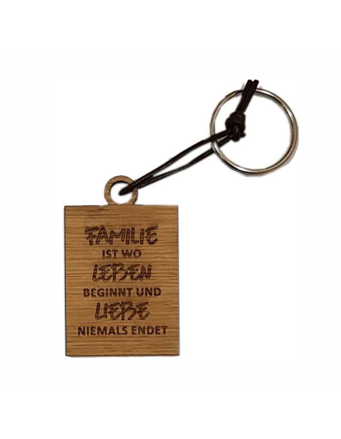"""Schlüsselanhänger aus Holz """"Familie ist wo Leben beginnt"""" (eckig)"""