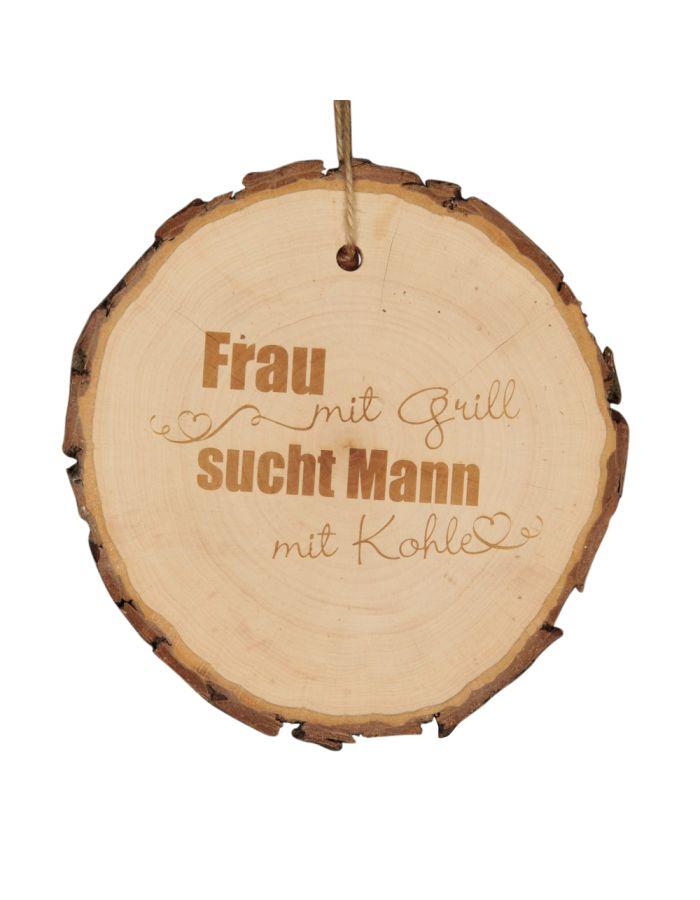 """Baumscheibe """"Frau mit Grill, sucht Mann mit Kohle"""""""