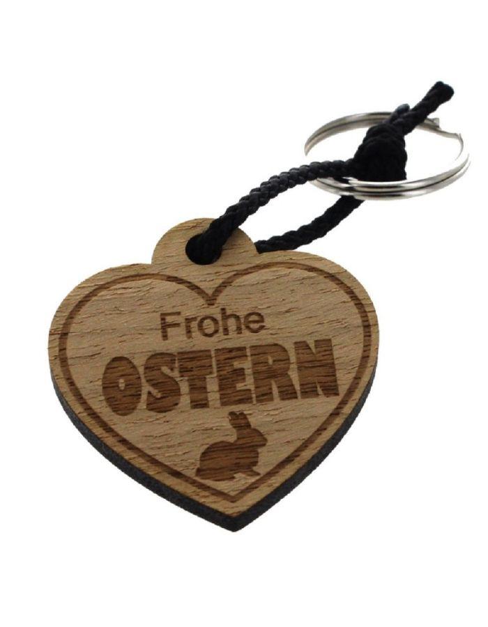 """Schlüsselanhänger aus Holz """"Frohe Ostern"""" (Herz)"""