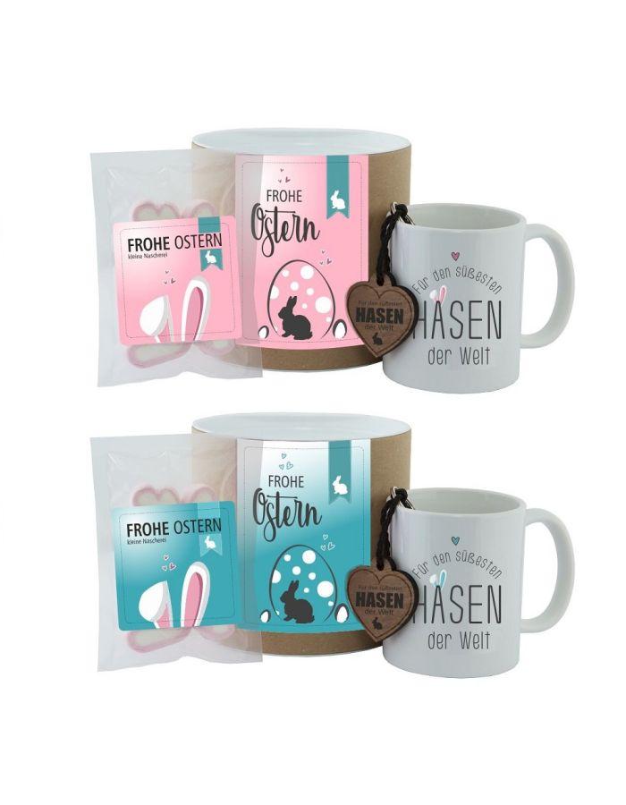 """Geschenkset """"Frohe Ostern - Für den süßesten Hasen der Welt"""" (Tasse, Schlüsselanhänger & """"Frohe Ostern"""" Herzen)"""