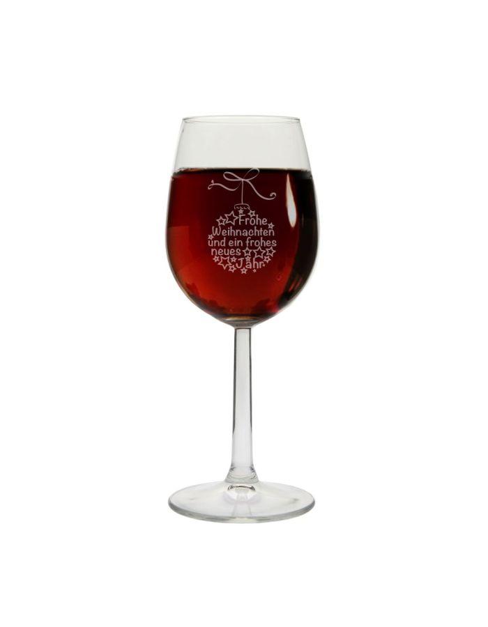 """Weinglas """"Frohe Weihnachten"""" (Weihnachtskugel)"""