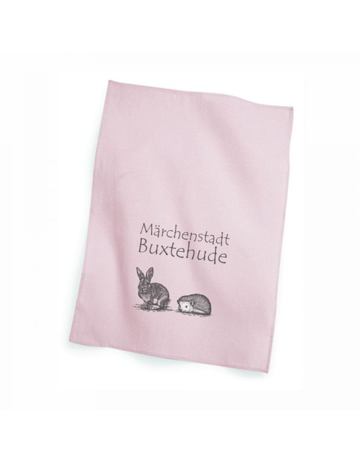 "Geschirrtuch rosa ""Märchenstadt Buxtehude - Hase & Igel"""