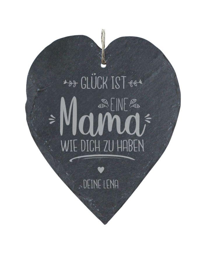 """Personalisiertes Schieferherz """"Gück ist: eine Mama wie Dich zu haben"""" (23x27cm)"""