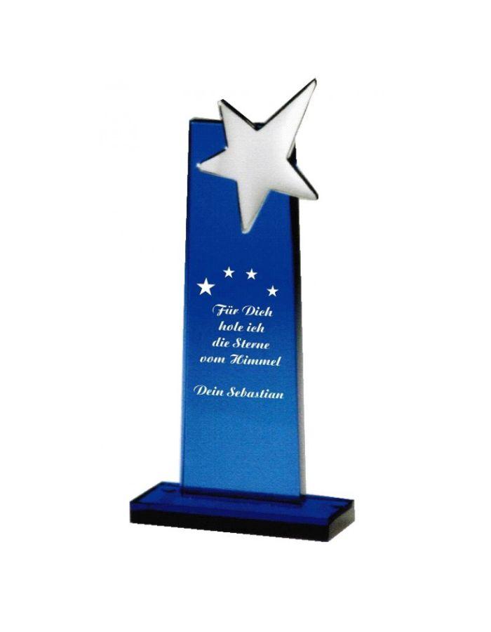 Glas-Award mit Stern - personalisiert