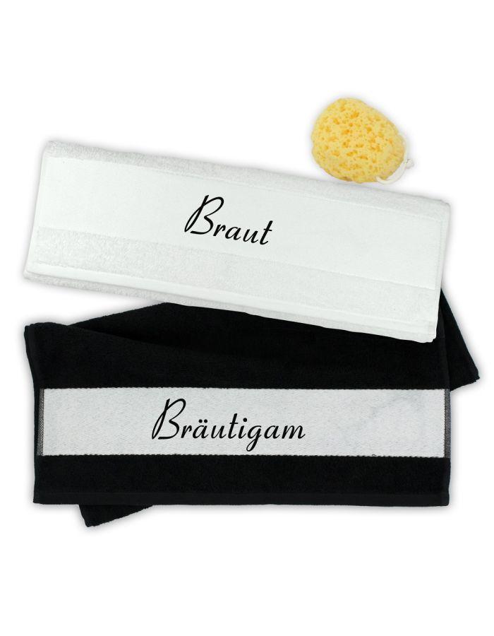 """Handtuch-Set """"Braut & Bräutigam"""""""