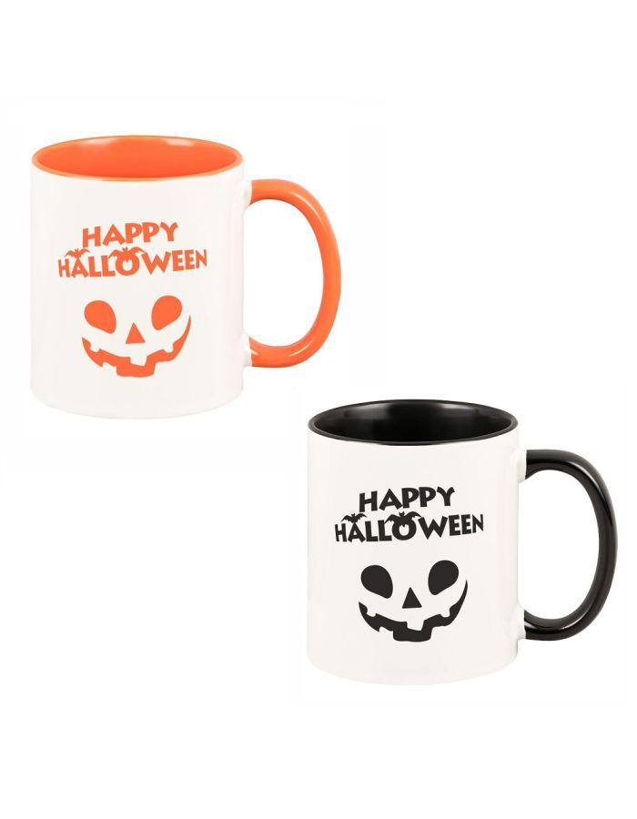 """Tasse """"Happy Halloween"""" (Farbe: schwarz oder orange)"""