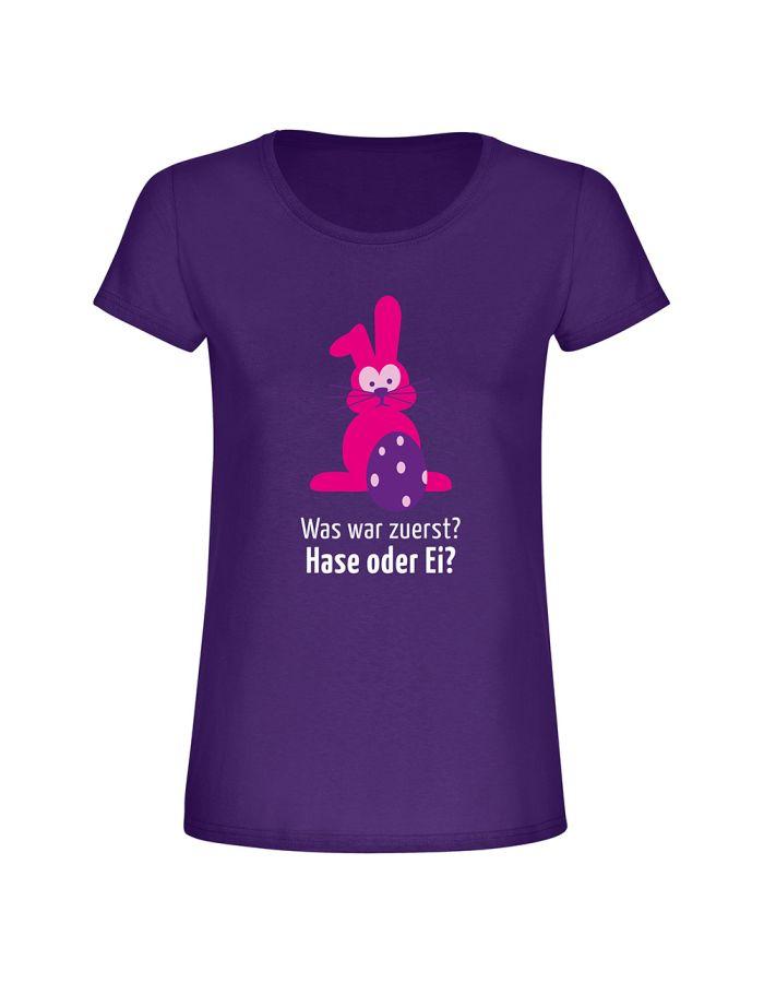 """T-Shirt """"Was war zuerst? Hase oder Ei?"""" - Damen"""