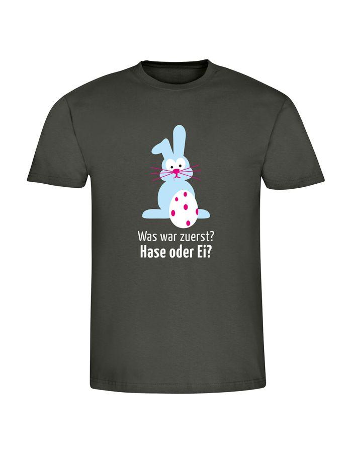 """T-Shirt """"Was war zuerst? Hase oder Ei?"""" - Herren"""