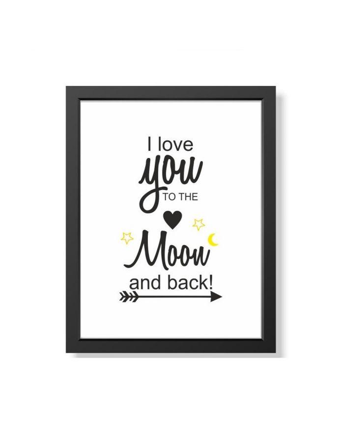 """Bild """"I love you to the moon and back"""" (verschiedene Größen)"""