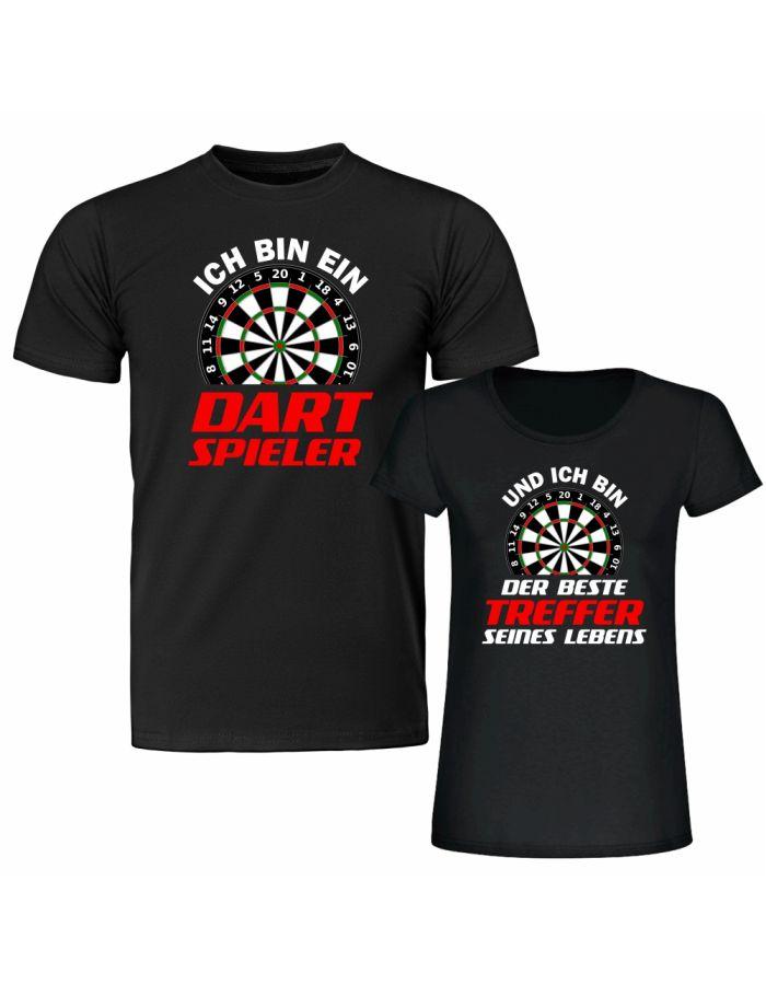 """T-Shirt SET """"Ich bin ein Dartspieler"""" & """"Und ich bin der beste Treffer seines Lebens"""""""