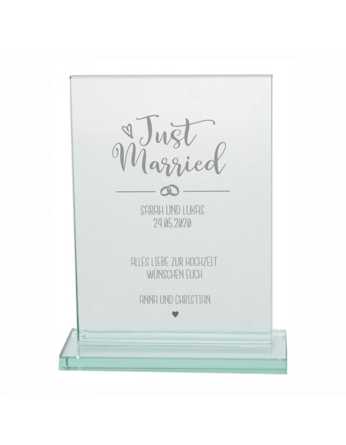 "Personalisierter Glaspokal ""Just Married - Alles Liebe"""