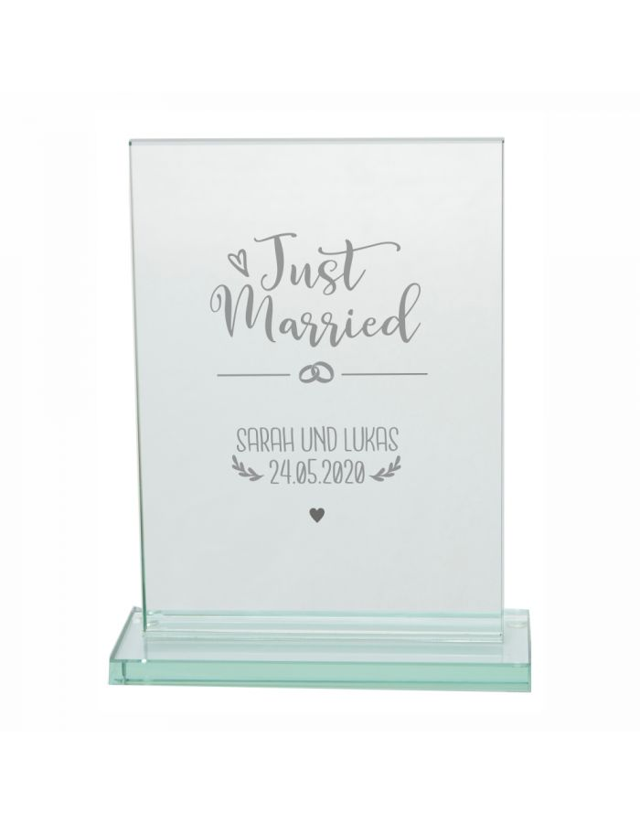 "Personalisierter Glaspokal ""Just Married - Namen & Datum"""