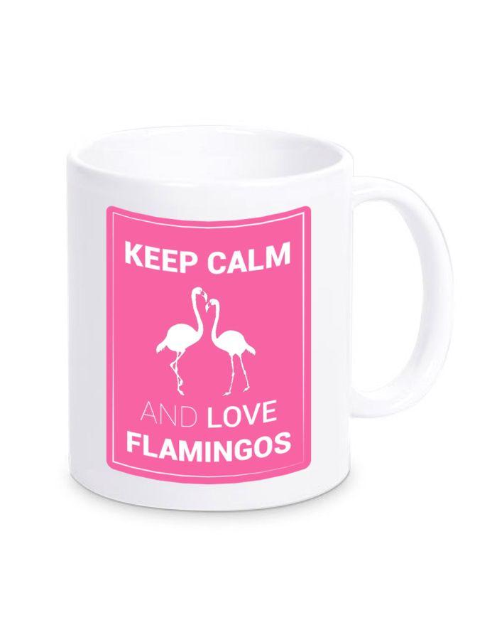 """Tasse """"Keep calm and love flamingos"""" (Farbe: weiß, rosa oder schwarz)"""
