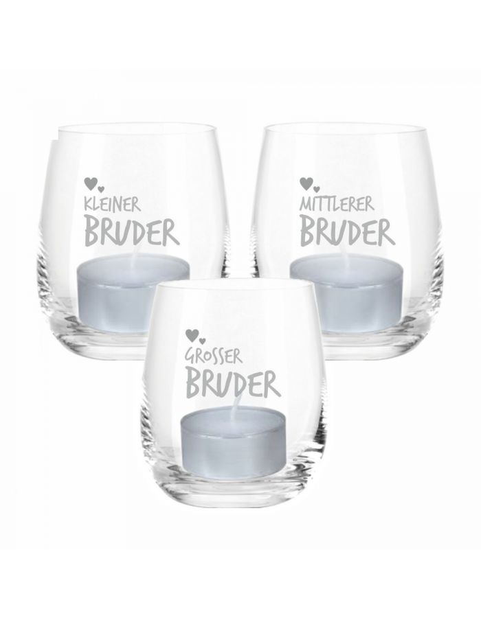 "Windlicht-Set ""Kleiner Bruder / Mittlerer Bruder / Großer Bruder"""