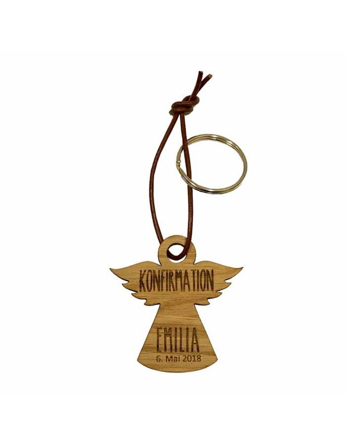 Schlüsselanhänger aus Holz zur Konfirmation - personalisiert (Engel)