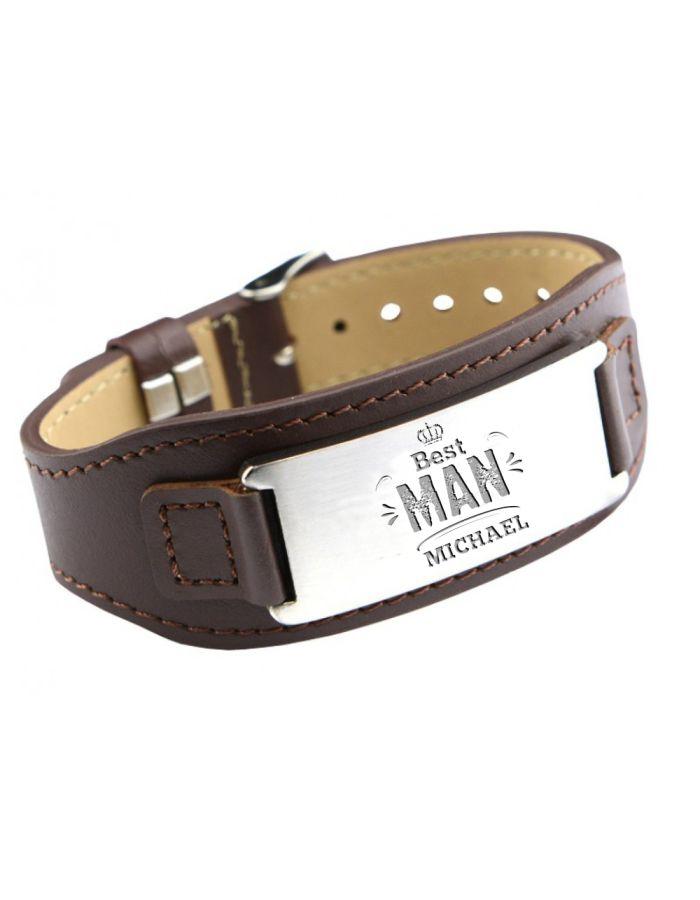 """Personalisiertes Armband aus Leder mit Gravur """"Best Man"""""""