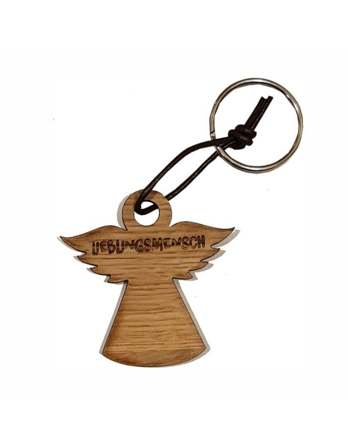 """Schlüsselanhänger aus Holz """"Lieblingsmensch"""" (Engel)"""