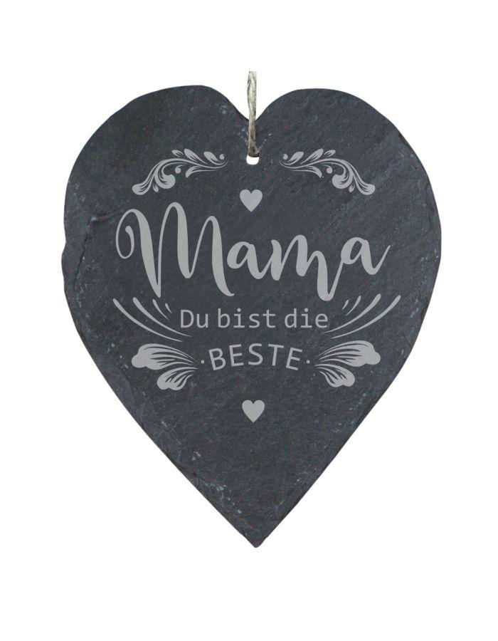 """Schieferherz """"Mama Du bist die Beste"""" (23x27cm)"""