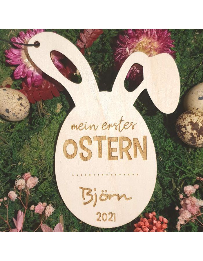 """Personalisierter Osteranhänger """"Mein erstes Osterfest"""" aus Holz"""