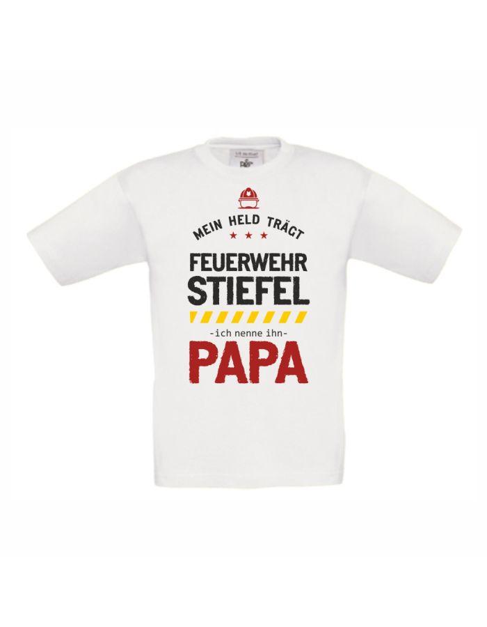 """Kinder T-Shirt """"Mein Held trägt Feuerwehr Stiefel"""""""