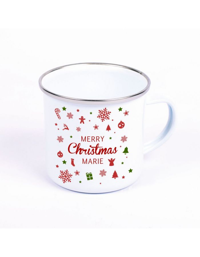 "Metalltasse Emaille Look ""Merry christmas"" - personalisiert"