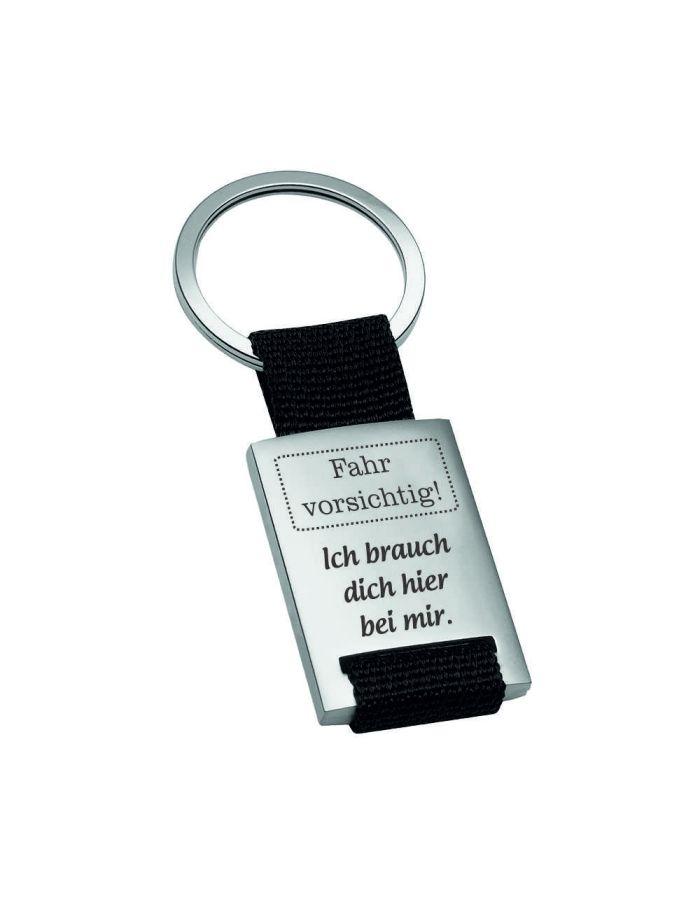 """Metall-Schlüsselanhänger """"Fahr Vorsichtig - Ich brauch dich hier bei mir"""""""