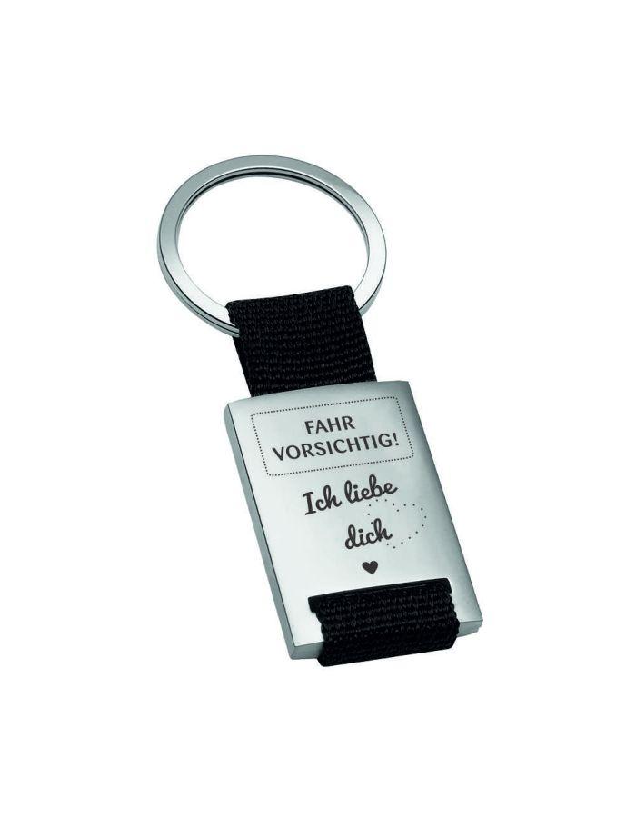 """Metall-Schlüsselanhänger """"Fahr Vorsichtig - Ich Liebe Dich"""""""