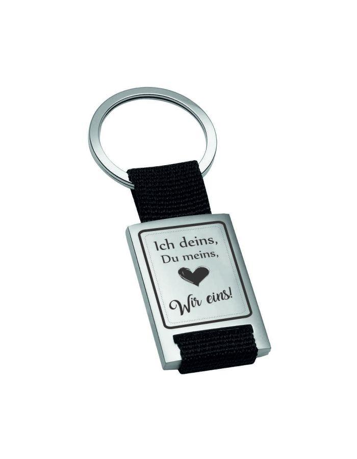 """Metall-Schlüsselanhänger """"Ich deins, Du meins, Wir eins"""""""
