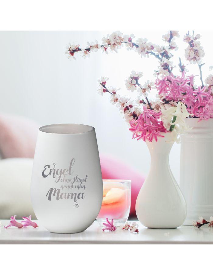"""Weißes Windlicht """"Engel ohne Flügel nennt man Mama"""" aus Glas"""