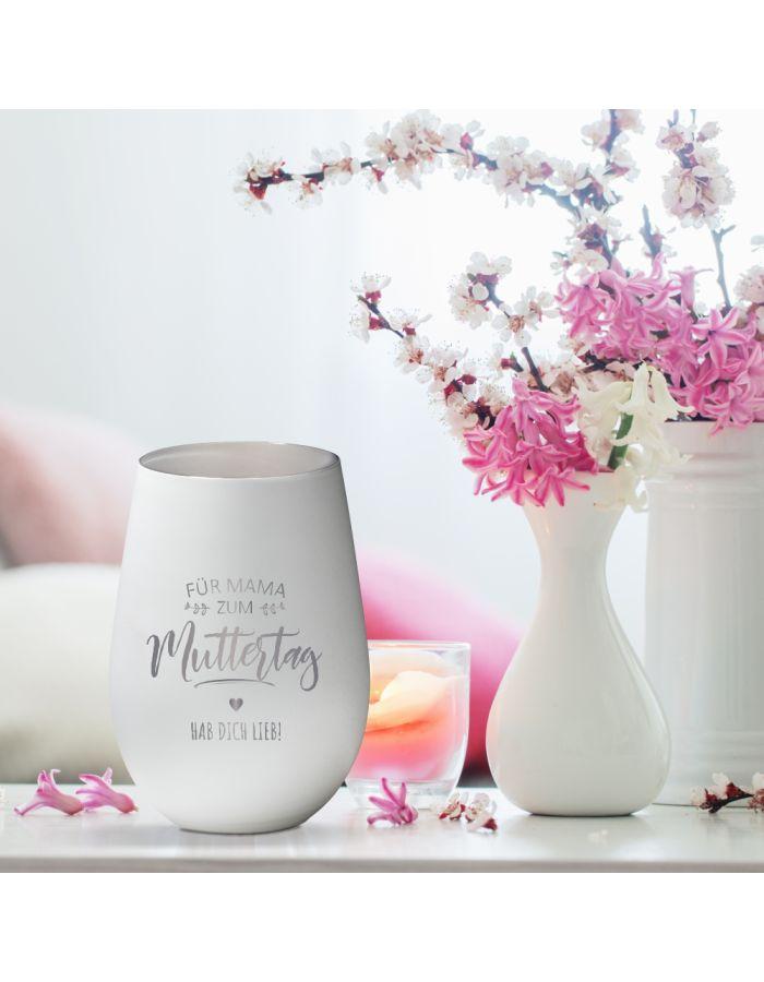 """Weißes Windlicht """"Für Mama - Zum Muttertag"""" aus Glas - personalisiert"""