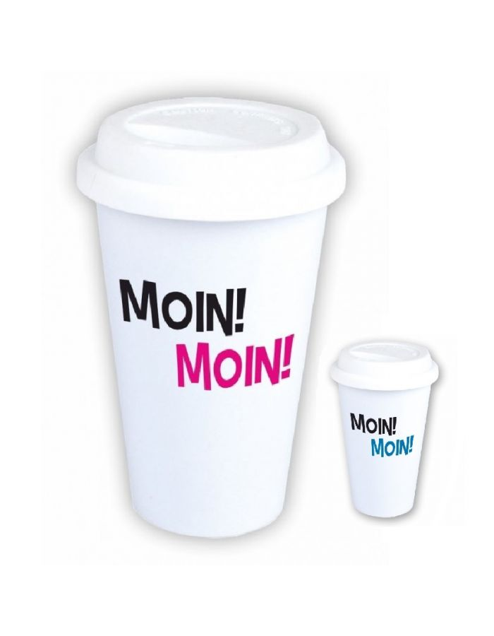"Coffee-to-go Becher ""Moin! Moin!"" (Design: pink oder blau)"