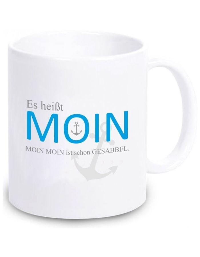 """Tasse """"Es heißt Moin. Moin Moin ist schon Gesabbel"""" (grauer Anker)"""