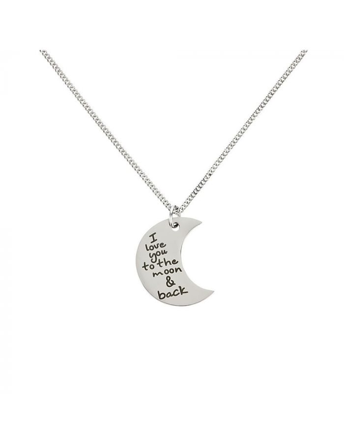 "Kettenanhänger ""I love you to the moon and back"" - personalisiert (Halbmond)"