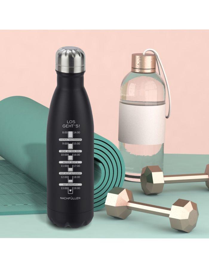 Edelstahl-Trinkflasche mit Motivations-Skala als Trink-Erinnerung