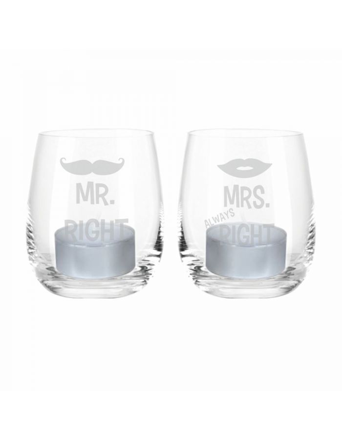 """Windlicht-Set """"Mr. Right & Mrs. Always Right"""""""