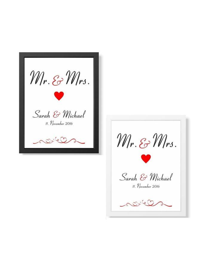 """Bild """"Mr. & Mrs."""" - personalisiert (verschiedene Größen)"""