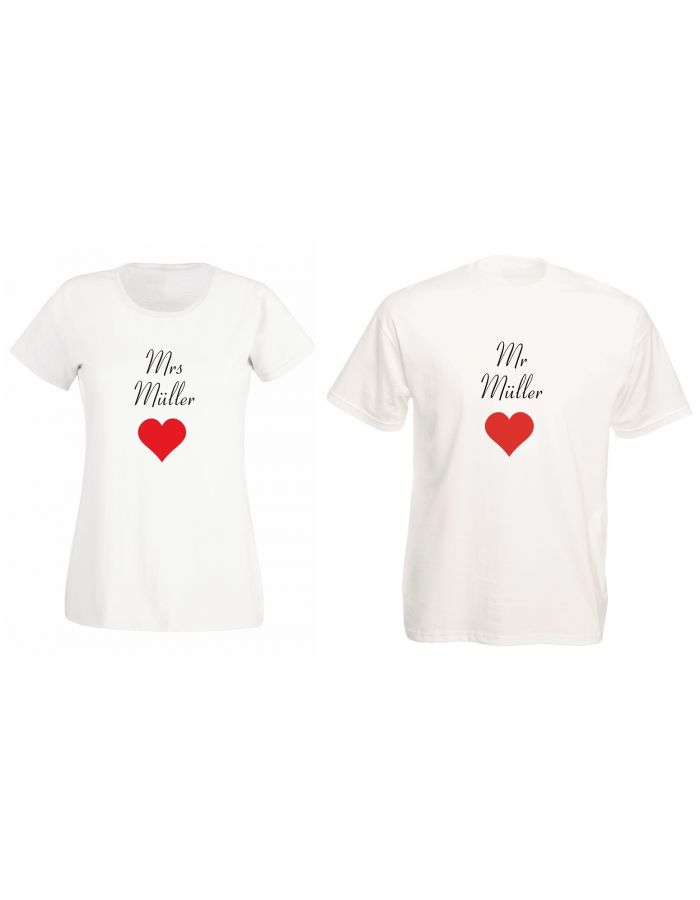 "T-Shirts ""Mr. & Mrs. + Namen"" - SET"