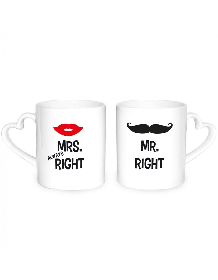 "Herz-Tassen ""Mr. Right & Mrs. Always Right"""