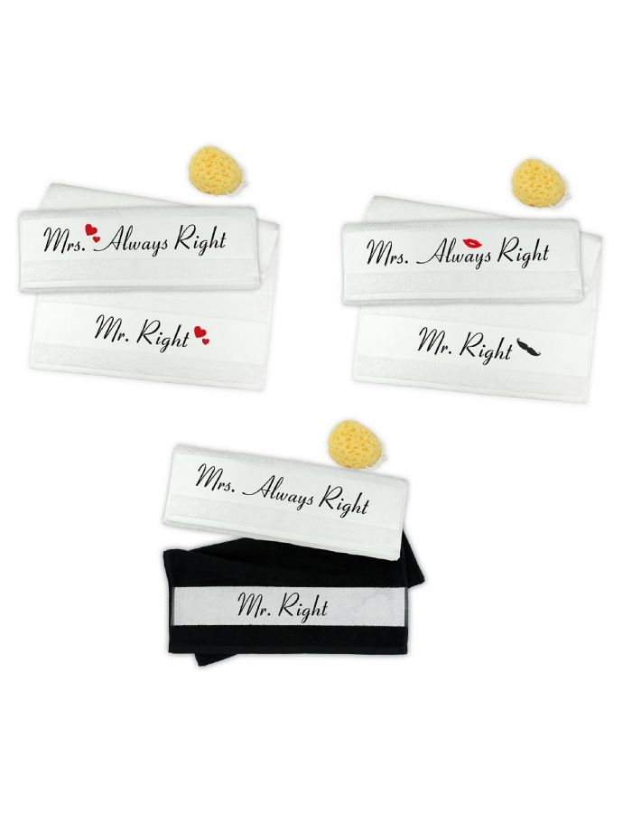 "Handtuch-Set ""Mr. Right & Mrs. Always Right"" (verschiedene Designs)"