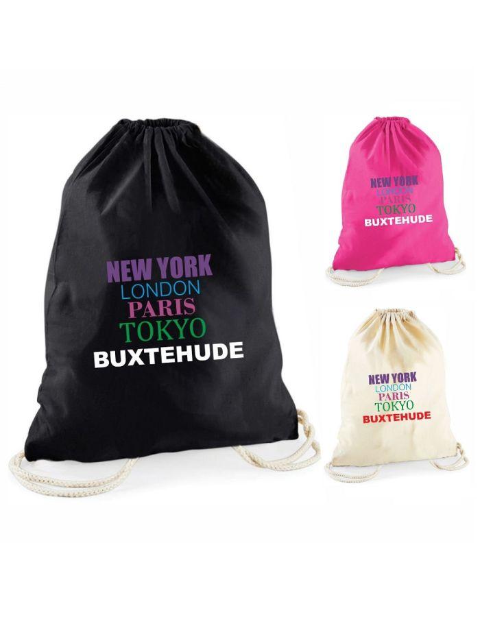 """Statement-Turnbeutel """"New York, London, Paris, Tokyo, IHRE STADT"""" (bunte Schrift)"""
