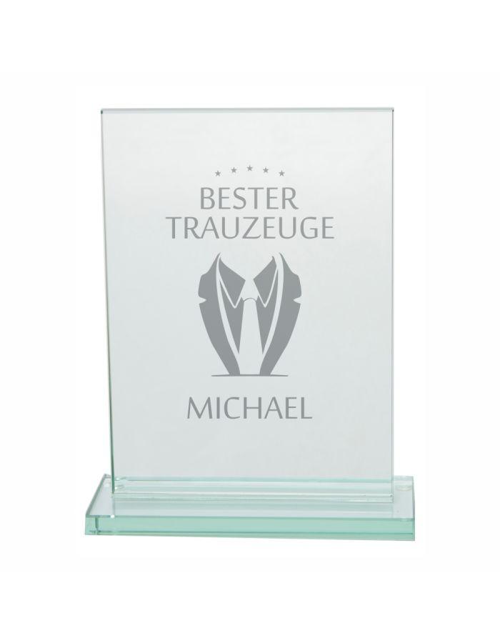 "Personalisierter Glaspokal ""Bester Trauzeuge"" (Anzug-Motiv)"